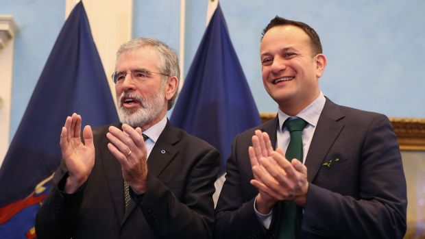 Gerry Adams with Taoiseach Leo Varadkar at a St Patrick's Day breakfast event at Gracie Mansion in New York. Photograph: Niall Carson/PA Wire