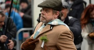 17/03/2018 - NEWS - Actor Mark Hamill, International guest of honour at the St. Patrick's Festival parade in Dublin. Photograph: Dara Mac D?naill / The Irish Times         Photograph: Dara Mac Donaill / The Irish Times