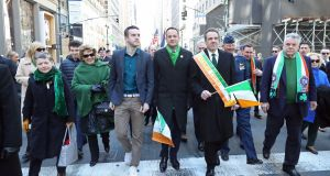 Taoiseach Leo Varadkar (centre) walks in the St Patrick's Day parade in New York City alongside his partner Matt Barrett (centre left), New York Governor Andrew Cuomo (centre right) and Congressman Peter King (right). Photograph: Niall Carson/PA