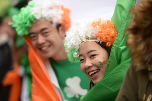 Spectators at the St. Patrick's Festival parade in Dublin. Photograph: Dara Mac Donaill