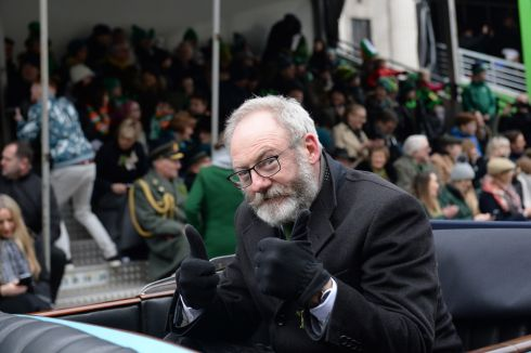 Actor Liam Cunningham, Grand Marshall at the St Patrick's Festival parade in Dublin. Photograph: Dara Mac Donaill/The Irish Times