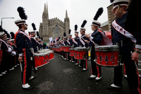 Preparations under way prior to the St Patrick's Day Parade in Dublin.  Photograph: Nick Bradshaw