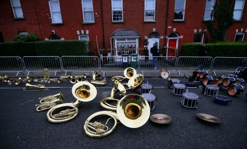 The brass band scarpered from the St Patrick's Day parade in Dublin. Photograph: Nick Bradshaw