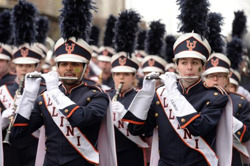 The University of Illinois band, at the St Patrick's Festival parade in Dublin. Photograph: Dara Mac Donaill/The Irish Times