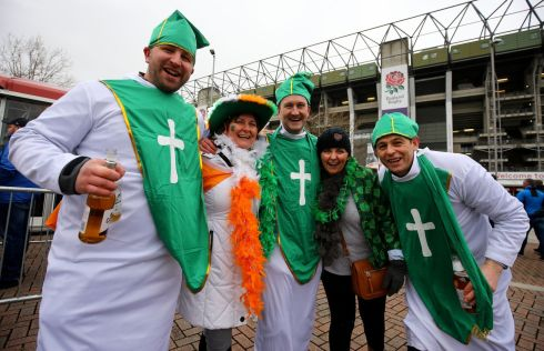 Ireland fans pose for a picture prior to the match at Twickenham Stadium. Photograph: PA