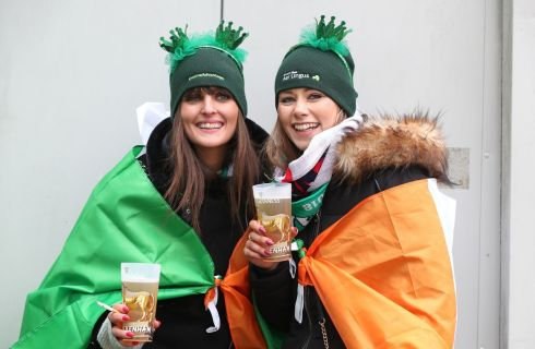 The tricolour should keep these Irish fans warm, and the fluids. Photograph: PA