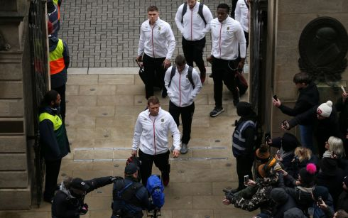 The England team arrive in the stadium hoping to end their Championship on a high. Photograph: PA