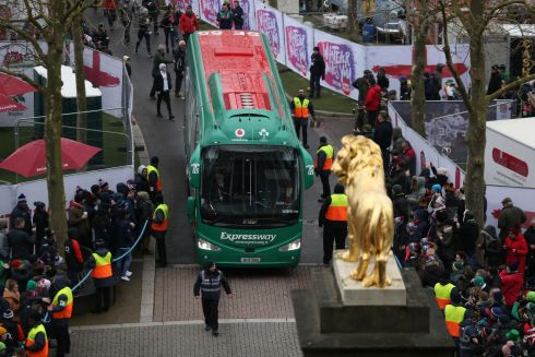 The Ireland team bus is greeted by fans as they arrive in Twickenham with a Grand Slam on their minds. Photograph: PA