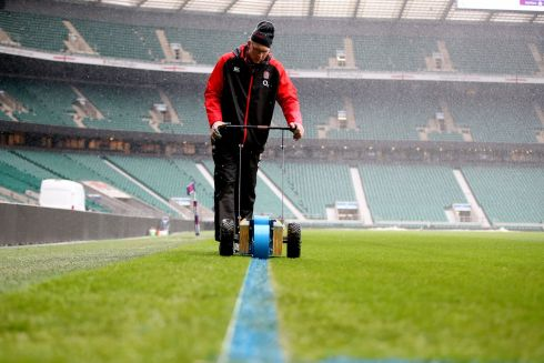 Snow is falling. The pitch being prepared ahead of the match. Photograph: Inpho