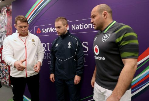 Referee Angus Gardner with England captain Dylan Hartley and Ireland captain Rory Best at the coin toss. Photograph: Inpho