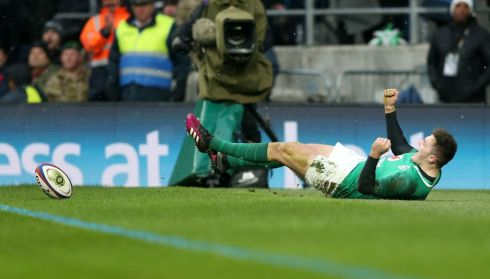 Ireland's Jacob Stockdale scores his seventh try of the Championship. A Six Nations record. Photograph: PA