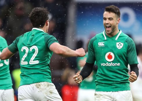 We've done it! Joey Carbery and Conor Murray celebrate at the final whistle. Photograph: Inpho