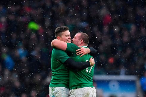 Jack McGrath embraces Jacob Stockdale. Photograph: Getty Images