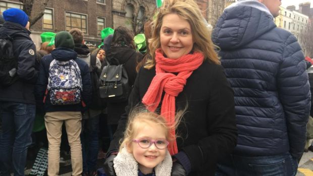 Clare Ryan with her daughter Charlotte, at the St Patrick's Day parade. Photograph: Jack Power
