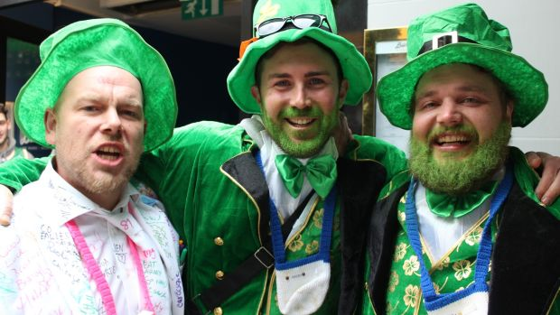 Sebastian Hausimger, Andi Schüßler, Hubert Zimmer on a stag party on St Patrick's Day in Dublin. Photograph: Jack Power