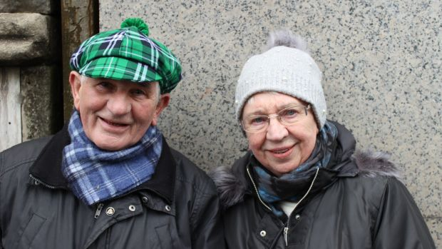 Redmond McFadden (81) and his wife Doris at their first St Patrick's Day parade in Dublin. Photograph: Jack Power