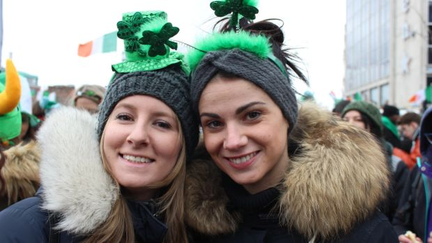 Jessica Tassan and Camilla Ponzona (right), from Milan, at the St Patrick's Day parade in Dublin. Photograph: Jack Power