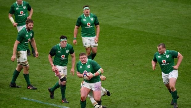 Ireland tighthead and mana of the match Tadhg Furlong on the charge during the Six Nations match against England at Twickenham. Photograph: Shaun Botterill/Getty Images