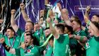 The Ireland team celebrates winning the Grand Slam. Photograph: Bryan Keane/Inpho