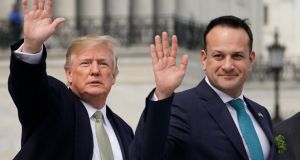 Donald Trump and Leo Varadkar: the Taoiseach speaks for a country that is being forced to think deeply about its place in the world. Photograph: Mandel Ngan/AFP/Getty