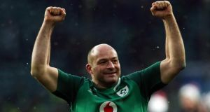 Co Armagh-born captain Rory Best celebrates after winning the Grand Slam at Twickenham Stadium, London.  Photograph: Paul Harding/PA Wire