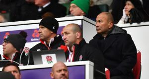 "England coach Eddie Jones during the Six Nations defeat to Ireland at  Twickenham. ""We are playing without our five top backrowers at the moment."" Photograph:  Dan Mullan/Getty Images"