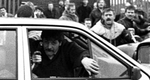 The car containing two British army corporals, Derek Wood and David Howes, as it drove into a funeral cortege in west Belfast in 1988.