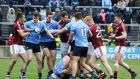 A scuffle breaks out on the pitch between Galway and Dublin players. Photograph: Lorraine O'Sullivan/Inpho