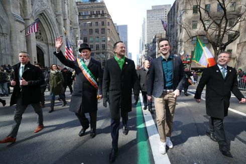 ST PATRICK'S DAY: Taoiseach Leo Varadkar and his partner Matt Barrett walk in the St Patrick's Day parade in New York City. Photograph: Niall Carson/PA Wire