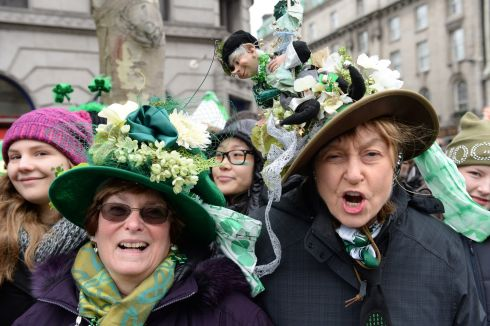 ST PATRICK'S DAY: Crowd members at the St Patrick's Day parade in Dublin. Photograph: Dara Mac Dónaill/The Irish Times
