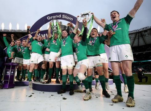 GRAND SLAM: Ireland celebrate winning the Six Nations Grand Slam, in Twickenham, London, England. Photograph: INPHO/Dan Sheridan