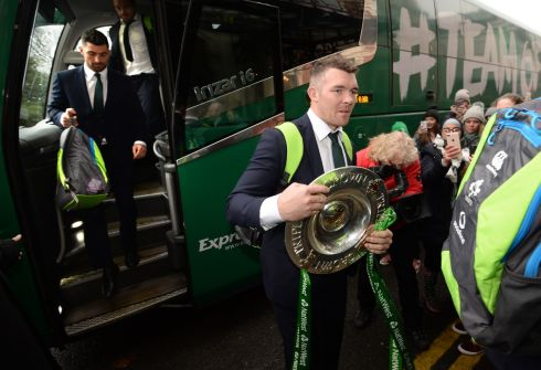 GRAND SLAM: Peter O'Mahony and Rob Kearney arrive at the Shelbourne Hotel in Dublin for a reception for Ireland's Grand Slam team. Photograph: Dara Mac Dónaill/The Irish Times