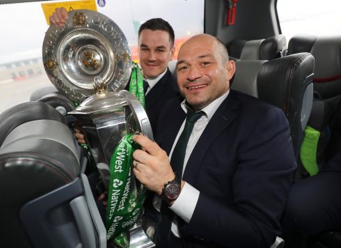 GRAND SLAM: Jonathan Sexton and Rory Best with the Six Nations trophy and the Triple Crown as the Ireland Grand Slam team returns home. Photograph: INPHO/Dan Sheridan