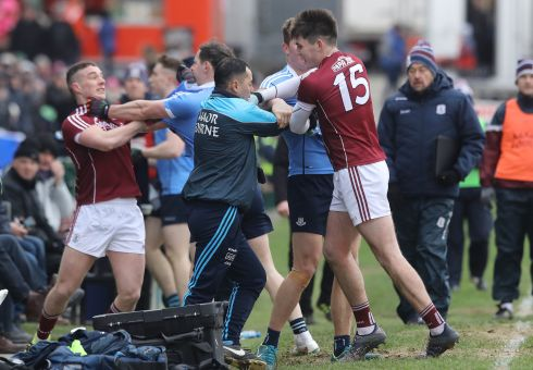 FIGHT CLUBS: A scuffle breaks out on the sideline between Galway and Dublin players during their Allianz Football League match at Pearse Stadium. Photograph: INPHO/Lorraine O'Sullivan