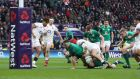 CJ Stander scores Ireland's second try in the NatWest Six Nations Championship match against England at Twickenham. Photograph: Billy Stickland/Inpho