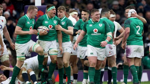 CJ Stander celebrates scoring Ireland's second try against England in the NatWest Six Nations Championship at Twickenham. Photograph: Bryan Keane/Inpho