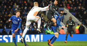 Pedro of Chelsea beats Kasper Schmeichel of Leicester City to score at The King Power Stadium. Photograph: Michael Regan/Getty Images