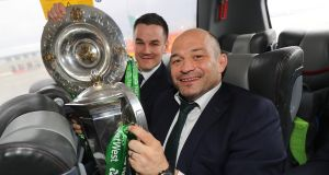Ireland rugby team's Jonathan Sexton and Rory Best with the Six Nations trophy and the Triple Crown. Photograph: Dan Sheridan/©INPHO