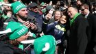 Taoiseach Leo Varadkar poses for selfies during the St Patrick's Day parade on Fifth Avenue in New York.  Photograph: Niall Carson/PA Wire
