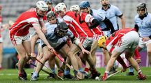 Players from both sides compete for the ball in Croke Park during Saturday's draw. Photograph: Gary Carr/Inpho