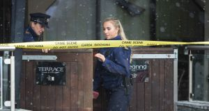 Gardaí at the scene of the fatal stabbing at the Shannon Knights venue  on Sunday morning. Photograph: Eamon Ward