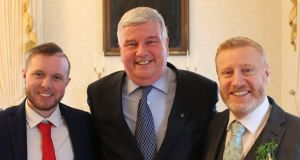 Three recipients of organ donations, Luke Doherty, Val Kennedy, and David Crosby (left to right) at Áras an Uachtaráin.