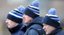 Monaghan manager Malachy O'Rourke with members of his backroom team on the sidelines of the Allianz Football League Division One game against Donegal in Clones. Photograph: John McVitty/Inpho