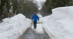 A status yellow snow-ice warning is in place until 10am. Photograph: Alan Betson / The Irish Times