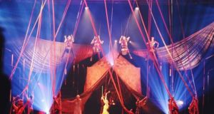 Aerial performers in the Cirque du Soleil VOLTA show
