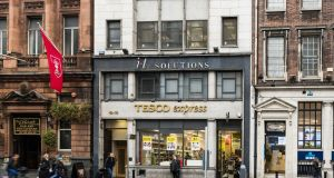 The Tesco Express building opposite the old Central Bank building has an overall floor area of 10,000sq ft.