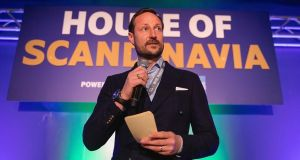 Crown prince Haakon Magnus of Norway speaks on stage during the SXSW festival in Austin, Texas. Photograph: Rick Kern/WireImage