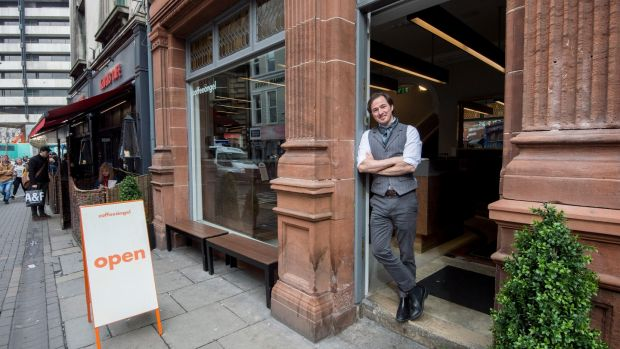 Karl Purdy of Coffee Angel in their Trinity Street coffee shop. Photograph: Brenda Fitzsimons