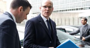Minister for Foreign Affairs  Simon Coveney after   a meeting with  EU Brexit  negotiator Michel Barnier in Brussels on Monday.  Photograph: Dario Pignatelli/Bloomberg