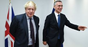 British foreign secretary Boris Johnson with Nato secretary general Jens Stoltenberg during a meeting at which the attempted murder of Sergei Skripal and his daughter Yulia were discussed. Photograph: EPA